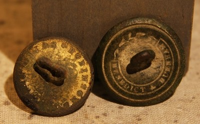 CLEARANCE - REDUCED 40% - THE SIEGE OF PETERSBURG - Two Plain Coat Buttons - One is Domed with Benedict & Burnham Back Mark - Confederate