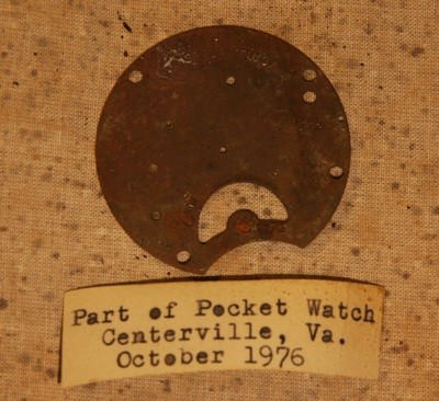 JUST ADDED ON 3/30 - CENTREVILLE, VIRGINIA / BULL RUN AREA - Pocket Watch Piece with Original Typed Label - Recovered in 1976