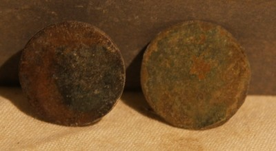 JUST ADDED ON 3/20 - THE BATTLE OF ANTIETAM / MILLER'S CORNFIELD - Two Coin or Flat Buttons - Found between 1975 and 1979