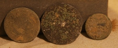 JUST ADDED ON 5/15 - ANTIETAM / NEAR THE MUMMA FARM & EAST WOODS - Three Flat or Coin Buttons
