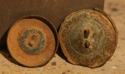 JUST ADDED ON 7/14 - THE BATTLE OF GETTYSBURG / AREA BEHIND THE ROUND TOPS - Two Button Backs - One from a State Button