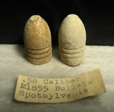JUST ADDED ON 4/15 - THE BATTLE OF SPOTSYLVANIA - Two .58 Caliber William's Regulation Bullets with Relic Hunter's Original Label - Found in May, 1973