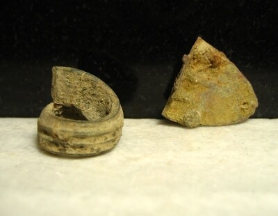 JUST ADDED ON 4/15 - THE BATTLE OF COLD HARBOR / AREA IN FRONT OF THE UNION LEFT FLANK - Artillery Shell Fuse Fragment and Brass Belt Tip- found in 1968