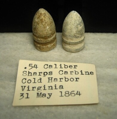 JUST ADDED ON 4/22 - THE BATTLE OF COLD HARBOR - Two Sharps Bullets - .54 and .52 caliber - with Original Collection Label
