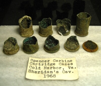 JUST ADDED ON 4/29 - THE BATTLE OF COLD HARBOR / AREA IN FRONT OF THE UNION LEFT FLANK - Group of Spencer Carbine Cartridge Casing Pieces with Original Collection Label
