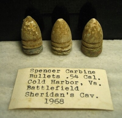JUST ADDED ON 5/8 - THE BATTLE OF COLD HARBOR / AREA IN FRONT OF THE UNION LEFT FLANK - 3 Spencer Carbine Bullets with Original Collection Label