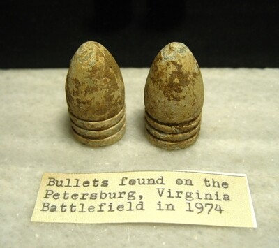 JUST ADDED ON 5/20 - THE SIEGE OF PETERSBURG - Two .58 Caliber Bullets found in 1974 - with Original Collection Label