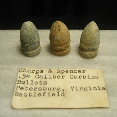 JUST ADDED ON 6/8 - THE SIEGE OF PETERSBURG - Three Sharps Bullets  - with Original Collection Label