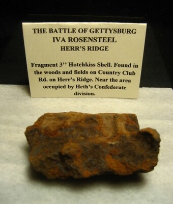 JUST ADDED ON 6/8 - GETTYSBURG - HETH'S DIVISION / HERR'S RIDGE - ROSENSTEEL FAMILY - Fragment of a Hotchkiss Artillery Shell