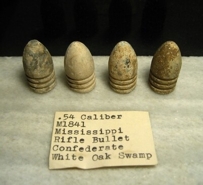 JUST ADDED ON 7/9 - THE BATTLE OF WHITE OAK SWAMP / SEVEN DAYS BATTLES - Four .54 Caliber Bullets - with Original Collection Label