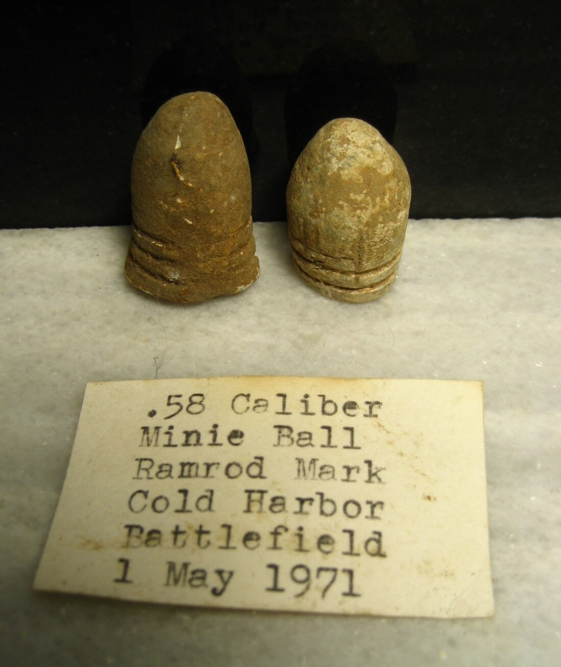 JUST ADDED ON 7/15 - THE BATTLE OF COLD HARBOR  - 2 Fired .58 Caliber Bullets with Ram Rod Marks - with Original Collection Label