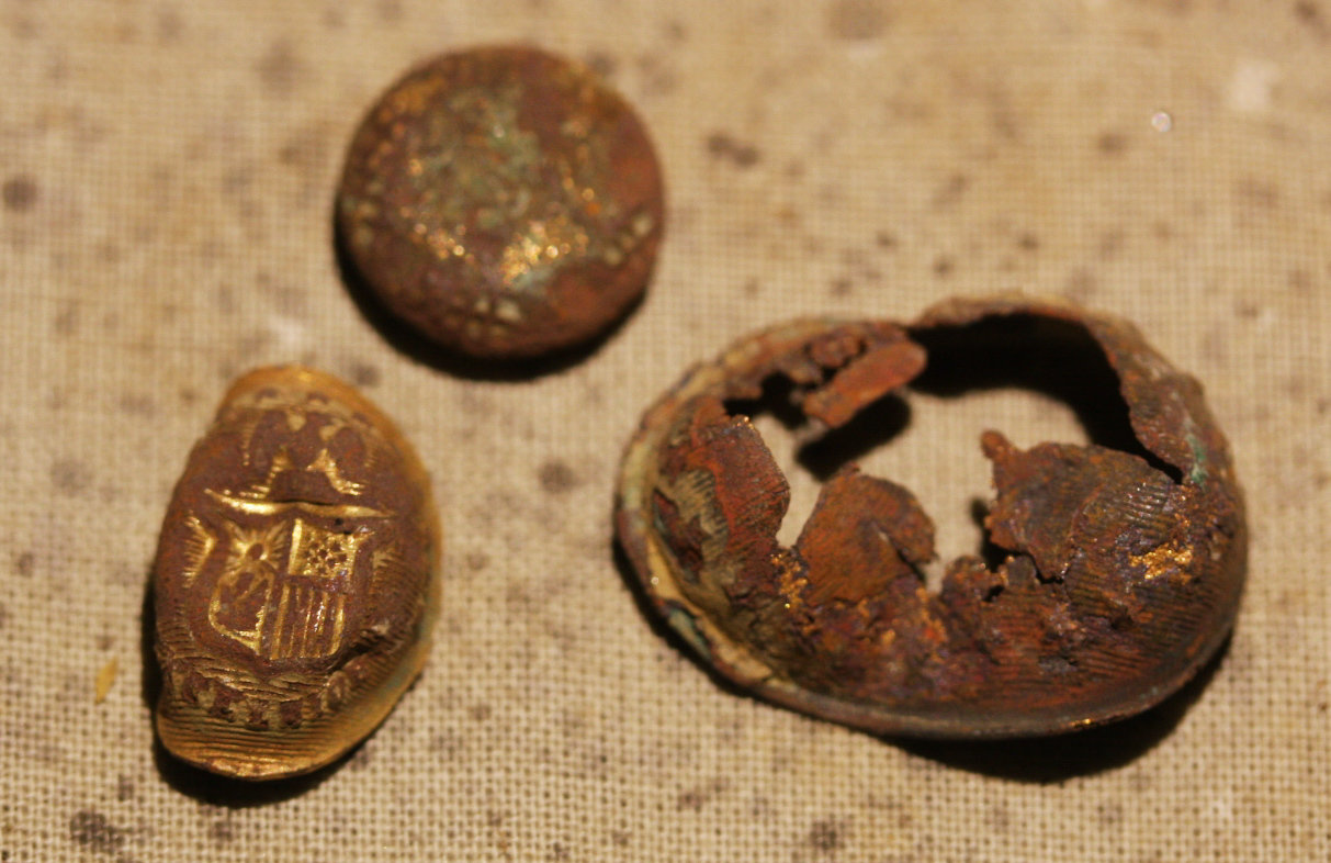 JUST ADDED ON 12/6 - 1862-1863 UNION WINTER CAMP IN STAFFORD, VIRGINIA - Two New York Button Faces & Unknown Cuff Button