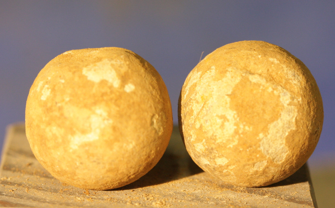 JUST ADDED ON 3/28 - CONFEDERATE CAMP / LEESBURG, VIRGINIA / BATTLE OF BALL'S BLUFF - Two .69 Caliber Round Balls - from a Relic Hunter's Old Boxed Collection