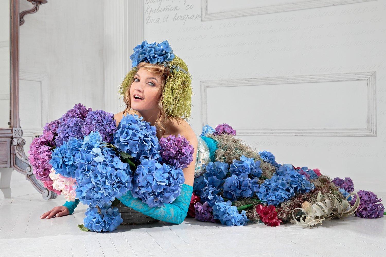 Фотосессия с живыми цветами