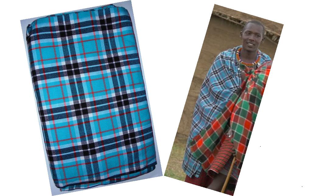 Bright urquoise plaids Masai shuka fabric