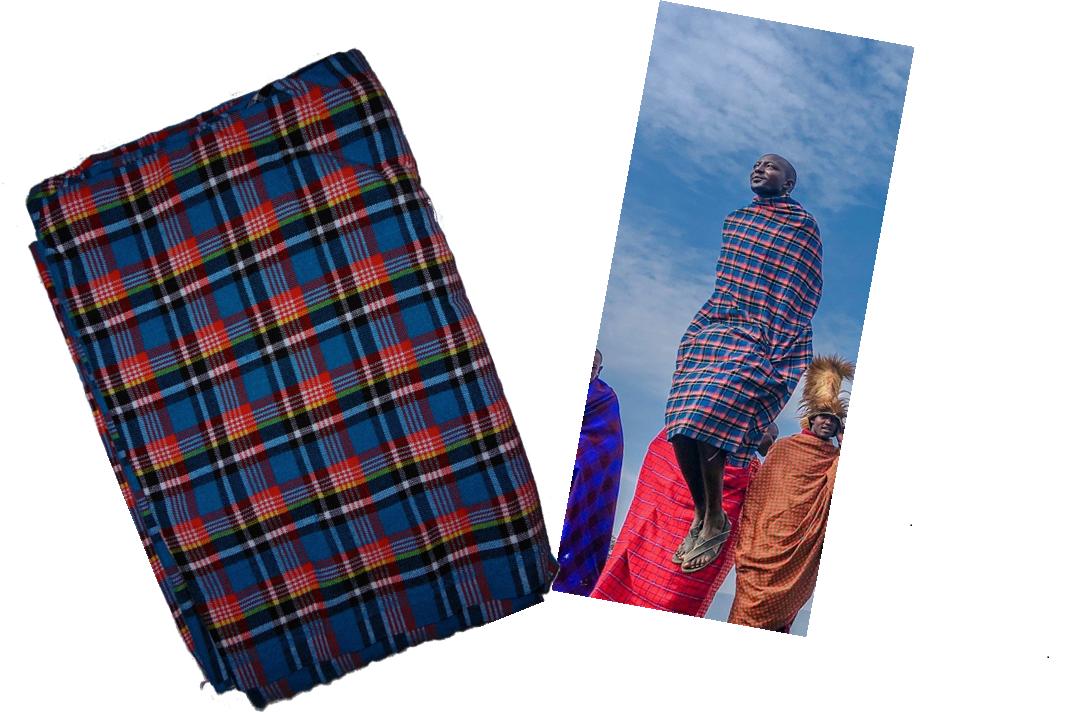 Dark turquoise plaids Masai shuka fabric