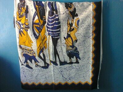Kenya kanga leso Masai family-Yellow blue and black edge