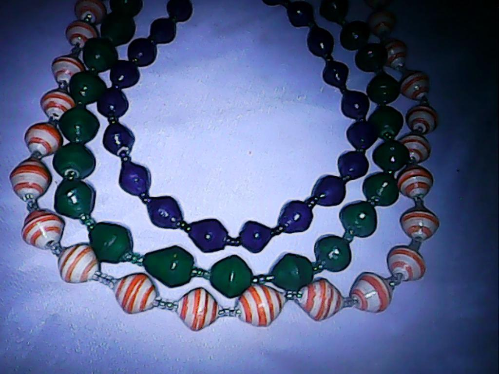 Masai paper beads necklaces-PBN002