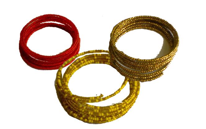 3 Masai spiral wire flexible beads bracelet-SWBB001