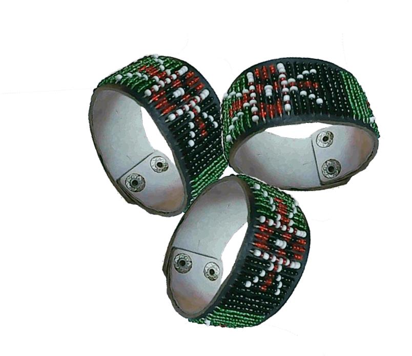 3 Masai beads leather bracelet-MBLB004