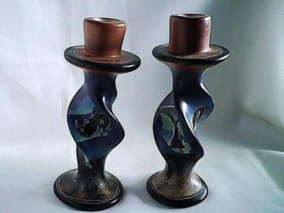 African Handmade soapstone twin candle holders kenya Kisii art