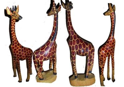 Masai Mara Giraffe wooden sculptures made in Kenya