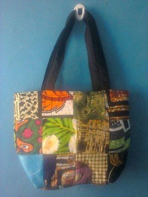 Kanga leso tribal shopping basket bag made in Kenya-Unisex