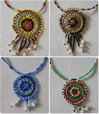 4 pieces Masai beads necklaces-MBN003