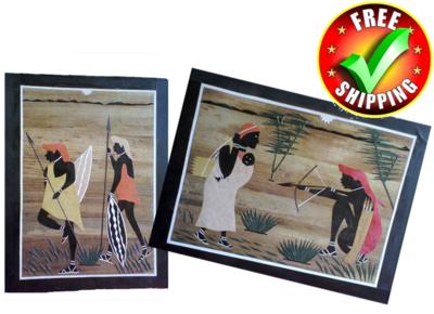 Banana fiber Mosaic art made in Kenya-Masai Hunting family