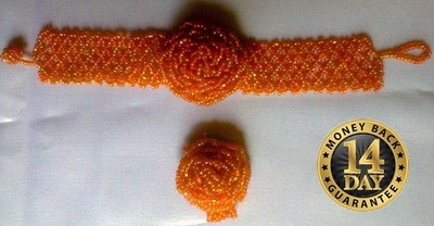 Orange Masai beads watch bracelet with a beads finger ring