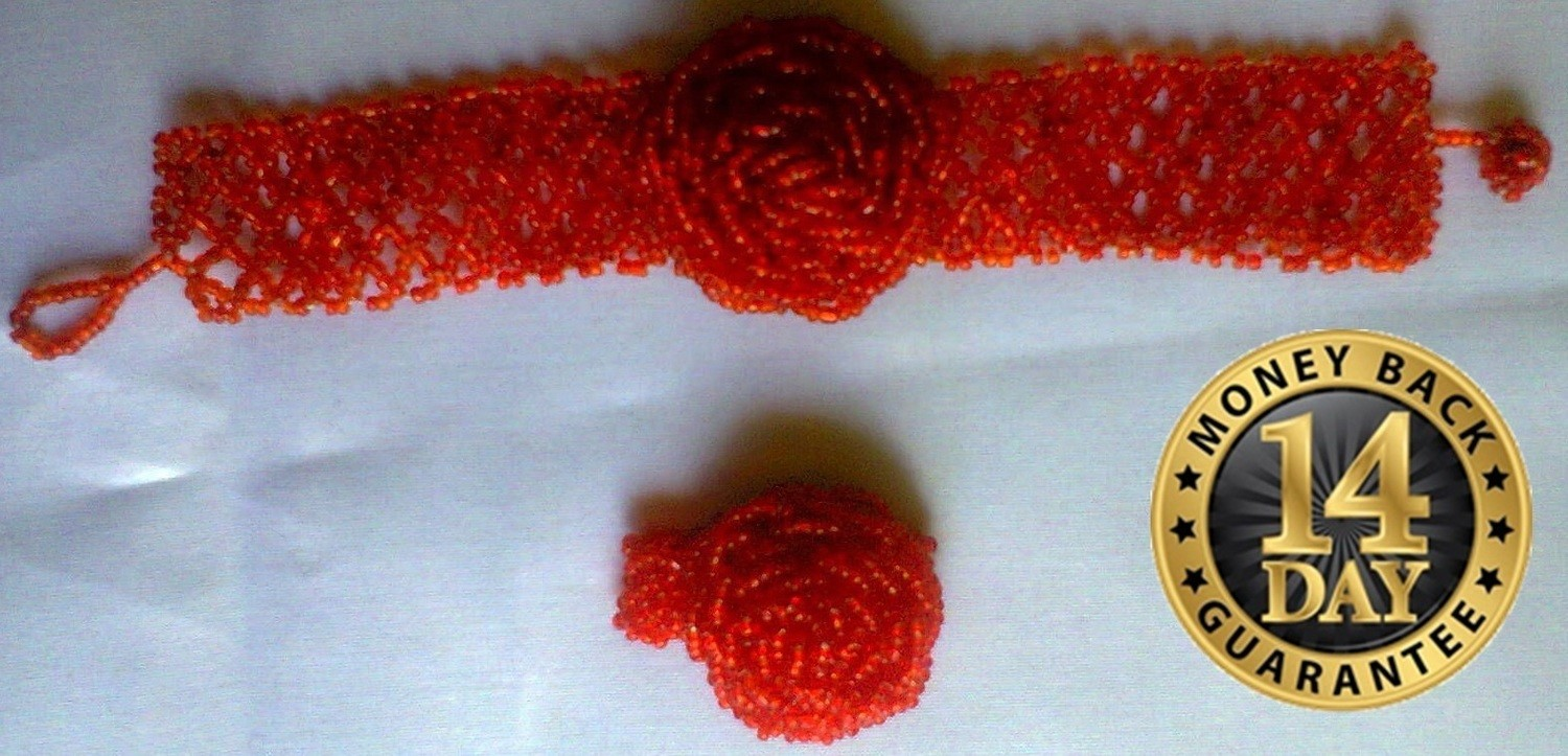 Red Masai beads watch bracelet with a beads finger ring