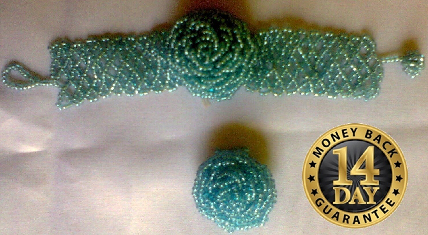 Sky blue Masai beads watch bracelet with a beads finger ring