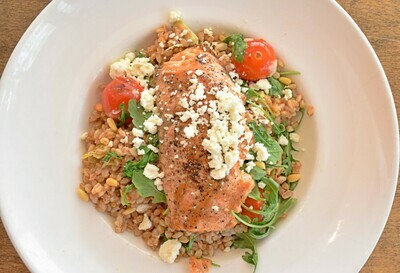 Grilled Salmon and Warm Farro Salad