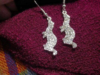 Ferret Clear Rhinestone Earrings - Small