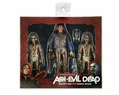 NECA - Ash vs Evil Dead – Ash vs Evil Dead – 7″ Scale Action Figures – Bloody Ash vs Demon Spawn 3-Pack