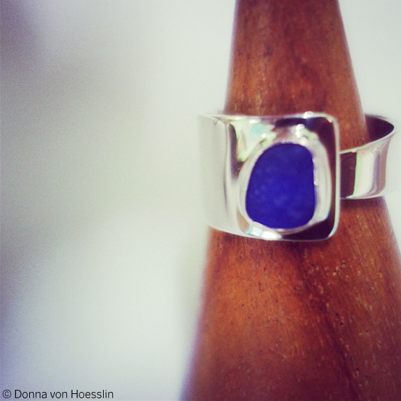 ADJUSTABLE Sea Glass Ring is sized, but open, so you don't get stuck. Unisex. Avail. in sizes 6-10 only