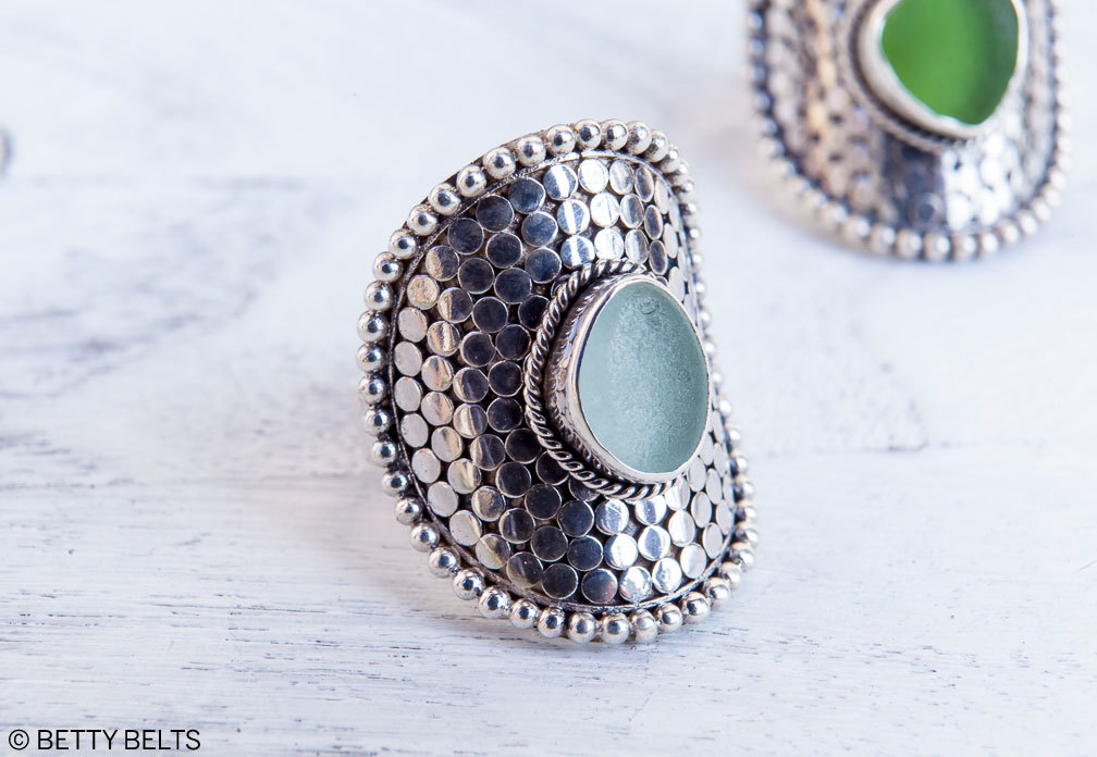 SIRENA sea glass ring in light blue and green, exquisitely hand made , 925 sterling silver and so comfortable for everyday wear