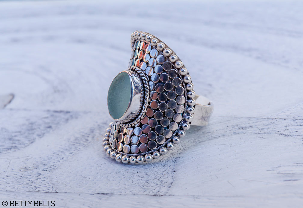 SIRENA sea glass ring exquisitely hand made , 925 sterling silver and so comfortable for everyday wear