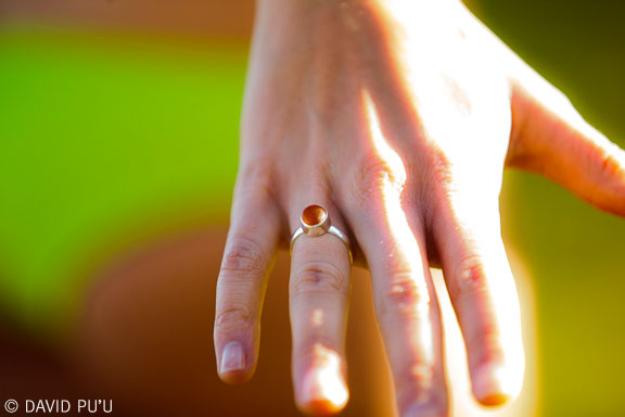 MICRO Single Bezel, Single Band sea glass ring in brown