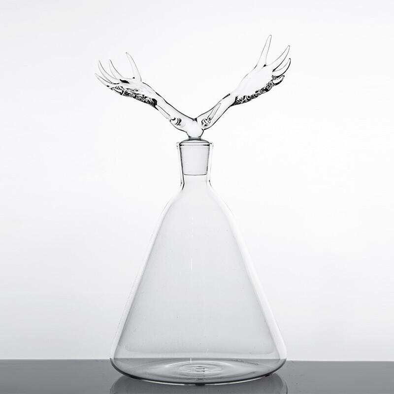 Hand Blown Glass Bottle 'Moose '- Trophy Bottles