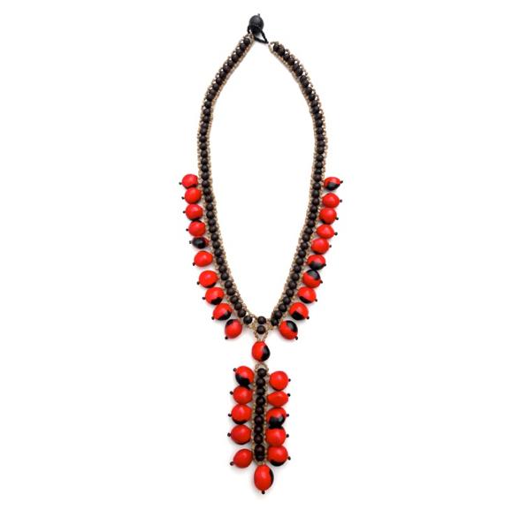 Awajun Baki Beaded Necklace Red ABN1067R