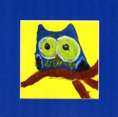 Owl Blue Print~Matted