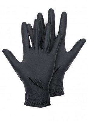 Перчатки нитриловые черные - пара (М) (L)
