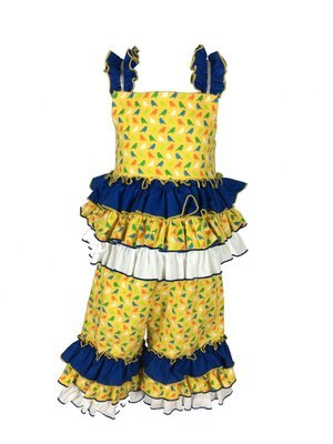 Yellow Bird Print Flannel outfit (girl)