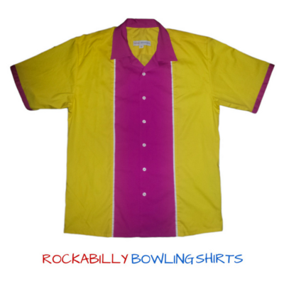 50s Retro Shirt Johnny / Yellow - Pink