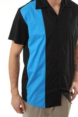 Men's Rockabilly Bowling Shirt DAVID (Blue)