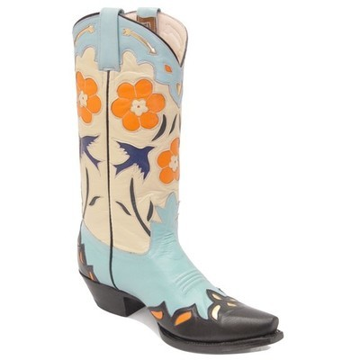 Bluebird Fancy Boots Turquoise & Bone