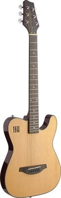 James Neligan Electric solid body folk guitar with cutaway, natural-colored