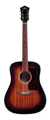 Guild D-20E - Vintage Sunburst - Solid Mahogany Top, Back, Sides - Acoustic Steel String Guitar - Hand Made in USA - LR Baggs Electronics