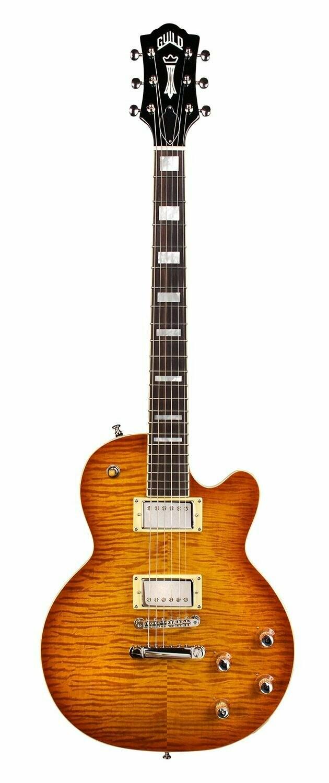 Guild Bluesbird Electric Guitar, Ice Tea Burst Flamed Maple Top